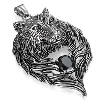 Boniskiss Wolf Stainless Steel Necklace For Men 316L Pendant Chain Biker Heavy Jewelry Animal Charm ping