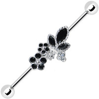 Clear Black Gem Floral Bouquet Industrial Barbell 37mm | Body Candy Body Jewelry