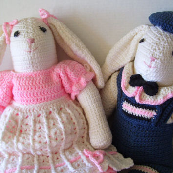 Easter Bunny Rabbit Crocheted  Boy and Girl Dressed in Their Sunday Best Heirloom Quality Ready for Immediate Shipping