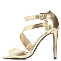 Gold Curved Strappy Peep Toe Heels by Charlotte Russe