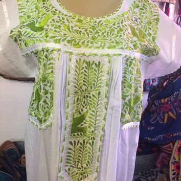 Mexican Fino Embroidered Maxi Dress White and Lime Green