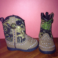 Blinged Out Camo Boots- Baby Size 2