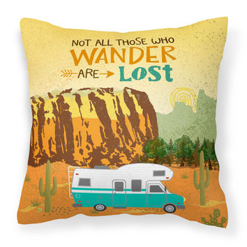 RV Camper Camping Wander Fabric Decorative Pillow VHA3027PW1414