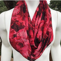 Women's-Handmade-Floral-Red-Rose Print-Infinity Scarf-Silk-Polyester-Light-Fall-Christmas-Valentines Day