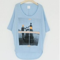 Wholesale Stylish Printing Dissymmetry T-Shirt Blue