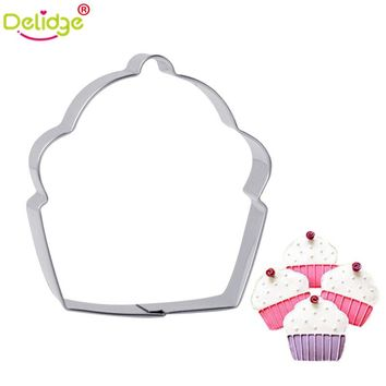 Delidge 1 pc Cupcake Shape Cookie Molds Stainless Steel Cake Fondant Molds DIY Cookie Cutter Mousse Ring