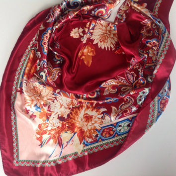 Red Paisley scarf, Gift for Cancer patients Hip coverup Best Friend gift Office Neckerchief Coworker Gift Red Floral Chemo head scarf, Shawl