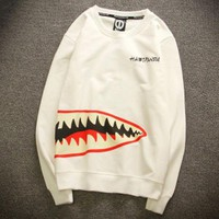 Fashion Women Men Casual Shark Tooth Print Loose Long Sleeve Top Sweater White