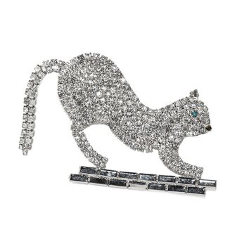 Vintage Rhinestone Cat Brooch, Articulated Tail