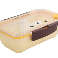 Cute Rilakkuma Design Rectangular Deep Lunch Box with Fork (Yellow)