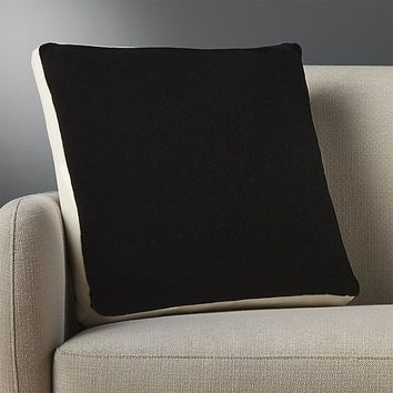 "mohair black 18"" pillow with down-alternative insert"