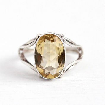 Vintage Citrine Ring - 835 Silver Genuine Gem Modernist Jewelry - Retro Size 7 1/4 Oval Yellow 3.46 Carat Gemstone November Birthstone
