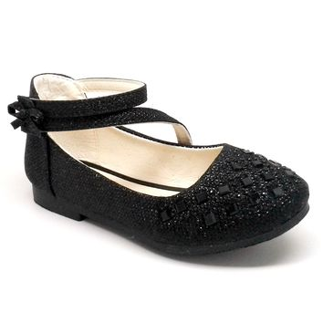Girl's Black Glitter Shoe with Hook and Loop Strap