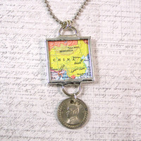 China Map and Coin Pendant Necklace