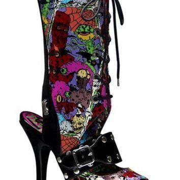 DCK7YE Pleaser Female 4 1/2 Inch Heel Lace Up Knee High Sandal With Creepy Eyeballs Print ZOM