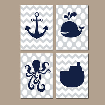 Nautical Ocean Bathroom Wall Art Navy Gray Canvas Anchor Whale Tug Boat Artwork Girl Boy Sea Water Set of 4 Prints Decor