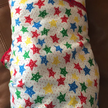 Red Green Blue and Yellow Star Single Layer Flannel Blanket with Red Crocheted Edge
