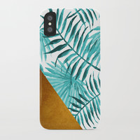 Aqua Tropical Leaves In Gold iPhone Case by byjwp