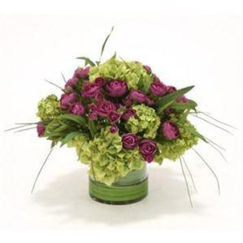 Purple Ranunculus with Green Hydrangeas in Clear Cylinder Vase