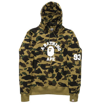 BAPE 1ST CAMO COLLEGE PULLOVER HOODIE | Undefeated