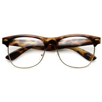 Classic Dapper Vintage Horned Rim Clear Lens Glasses 8770