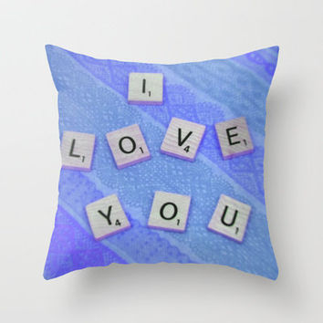 I Love You Darling in Blue Throw Pillow by Stacy Frett