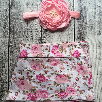 Pink Floral Skirt & Headband - Infant
