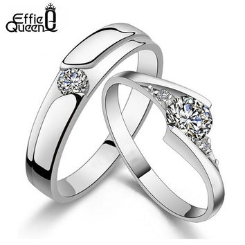 Effie Queen New Arrival Zircon Lover Couple Ring Set Engagement Platinum Plated Wedding Ring For Men and Women WRS10