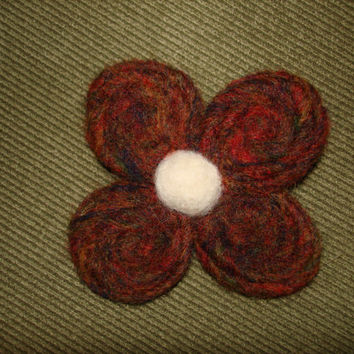 Needle Felted Wool Flower Brooch Pin Brown White Fall Colors