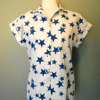 Rockabilly / Pin Up Style 80's Star Print Blouse / Top L