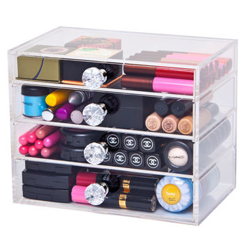Stark Acrylic Makeup Organizer Small 4 Drawer Modular with Diamond Knob