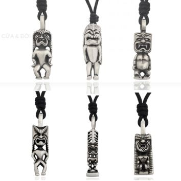 Cute Aboriginal Hawaiian God Silver Pewter Charm Necklace Pendant Jewelry With Cotton Cord