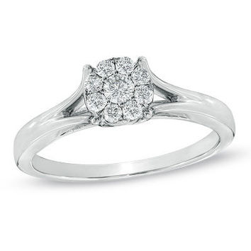 1/4 CT. T.W. Composite Diamond Engagement Ring in 10K White Gold - View All Rings - Zales