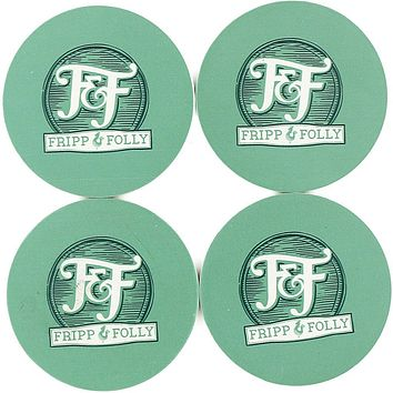 Stone Logo Coaster Set in Green by Fripp & Folly - FINAL SALE