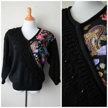 80s Avant Garde Ultra Kitsch Black Sweater // Lace & Beads + Paisley Print // Molly Ringwald, Saved by the Bell, Hip Hop Hipster Style