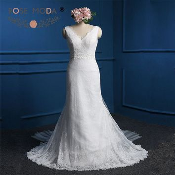 Sexy Deep V Neck Lace Sheath Wedding Dress with Pearls Removable Tulle Train Summer Destination Wedding Dresses Real Photo