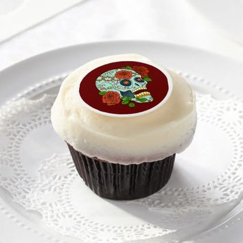 Day of the Dead, Sugar Skull with Roses Edible Frosting Rounds