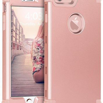Iphone 6s Plus Case Iphone 6 Plus Case Bentoben 3 In 1 Hybrid Hard Pc & Soft Silicone Bumper Heavy Duty Rugged Shockproof Full Body Protective Case For Iphone 6 / 6s Plus (5.5 Inch) Rose Gold