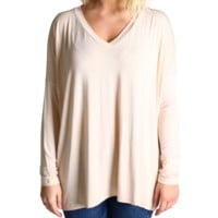 Cream Piko V-Neck Long Sleeve Top