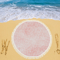 """Coral pink and white swirls doodles Circular Beach Shawl 59""""x 59"""" 