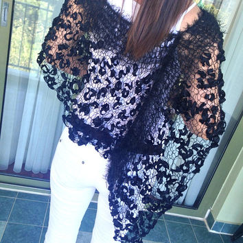 Formal black shawl,  black poncho, loose knit poncho, handknit magnificent poncho, women accessories, trendy shawl, party top, luxury yarn