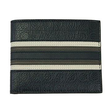 Ferragamo Guncini Men's Blue Leather Bi-fold Wallet 66 0696