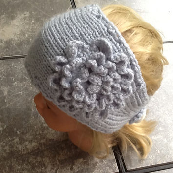 Knitted headband with crochet flower in silver blue acrylic yarn and button closure, soft, warm, neutral  color head  wrap, stocking stuffer