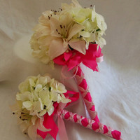 Shabby Chic Ivory Hydrangea and Lily Wedding Bouquet