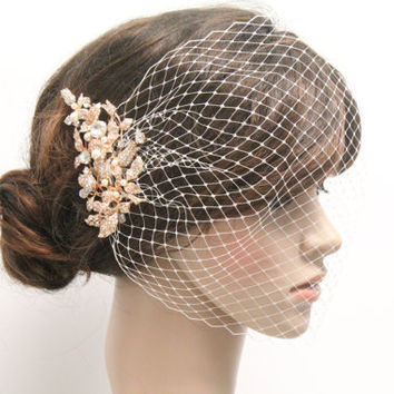 Bird cage veil Rose gold tone Rhinestone Bridal veil,Wedding Fascinators,Birdcage Fascinator,Ivory birdcage veil,Wedding accessories,Bridal