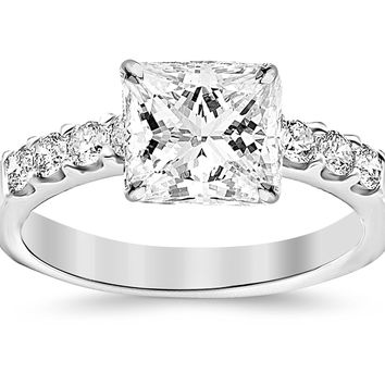 GIA CERTIFIED | 1.03 Carat Princess Cut/Shape 14K White Gold Classic Prong Set Round Diamond Engagement Ring with a 0.50 Carat, E Color, VVS2-VS1 Clarity Center Stone (Platinum, Yellow, White, Rose)