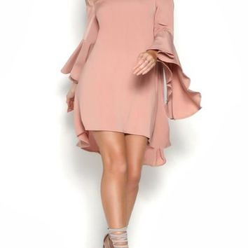 Pink Irregular Flare Sleeve Off Shoulder Backless High-low Elegant Party Midi Dress