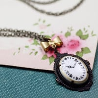 Clock cameo necklace sweet vintage victorian style bow