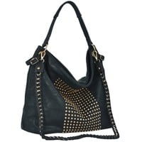 MG Collection HANA Chic Green Studded Slouchy Hobo Tote Style Office Handbag