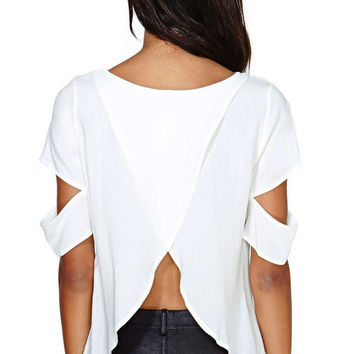 White Cutout Short Sleeve Chiffon Ruffled Blouse